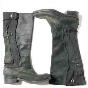 Apepazza Black Suede Moto Boots 8.5
